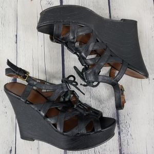 GUESS | caged lace-up strappy wedge sandals